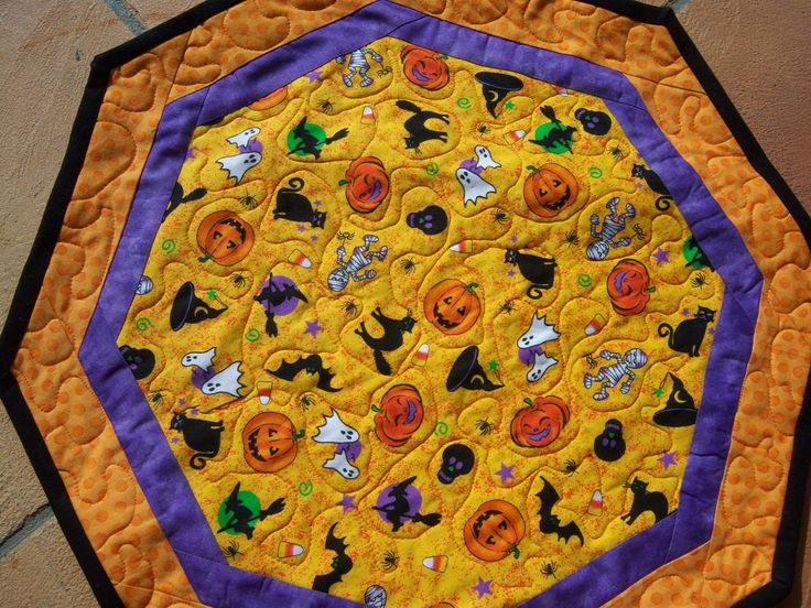 Fun Halloween, Quilted Table Topper, is bursting with all things Halloween! by CreativeCreationsDeb on Etsy