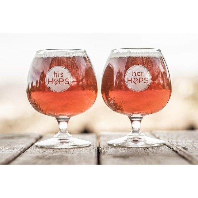 Great wedding gift idea for beer lovers: His & Her Hops Snifter Glasses @theBottleTrade @Square