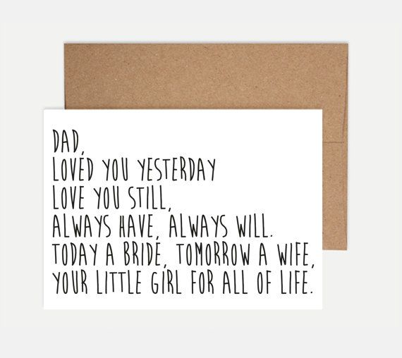 Father of the Bride Card  Wedding Card by ShortbChampers on Etsy  #RePin by AT Social Media Marketing - Pinterest Marketing Specialists ATSocialMedia.co.uk
