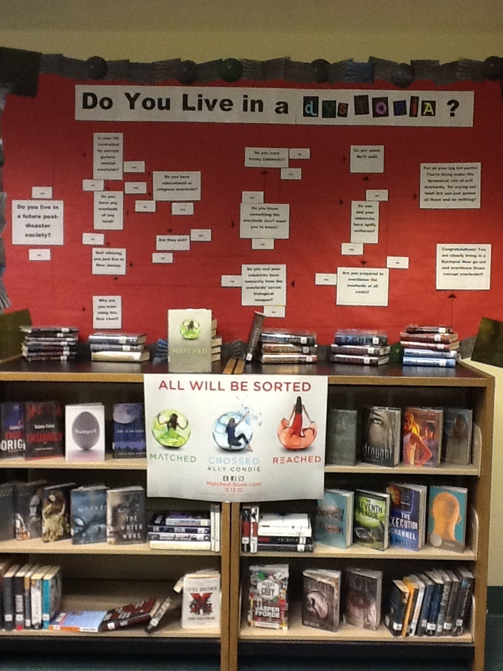 High School Display for Dystopian books created partially from a great idea gleaned from Pinterest. We created a flow chart to help students decide whether they live in a Dystopia or not.