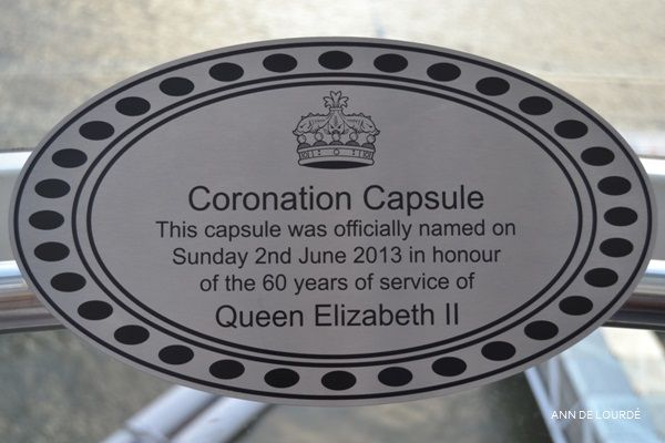 """""""Coronation Capsule This capsule was officially named on Sunday 2nd June 2013 in honour of the 60 years of service of Queen Elizabeth II"""" London Eye, Summer 2013, London, England, United Kingdom."""