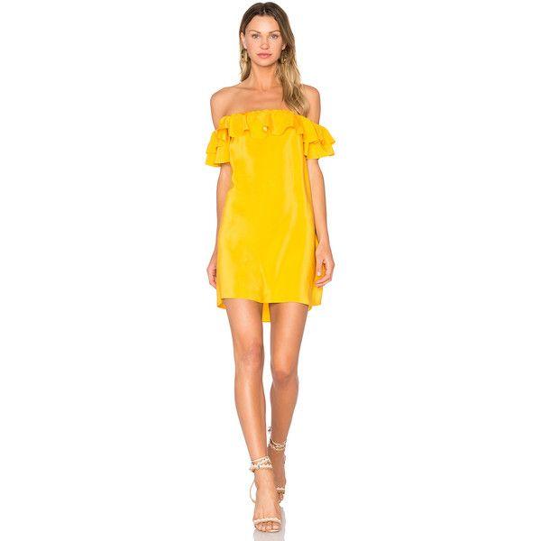 Amanda Uprichard Ethan Dress (200 AUD) ❤ liked on Polyvore featuring dresses, frilly dresses, amanda uprichard, ruffle dress, yellow frilly dress and silk dress