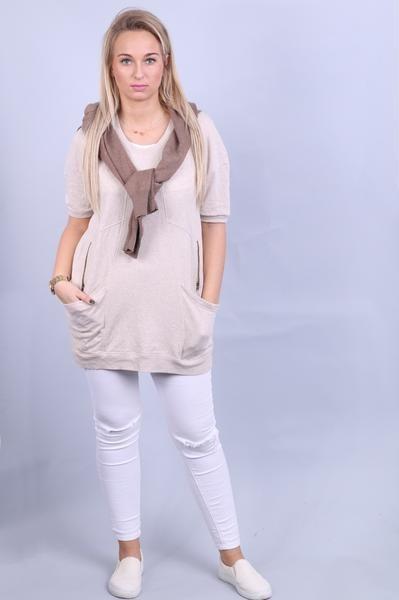 Sussan Womens M Long Sweatshirt Dress Beige Short Sleeve Cotton - RetrospectClothes