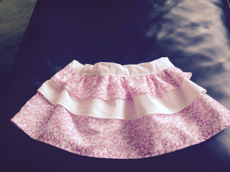Pink and white baby skirt