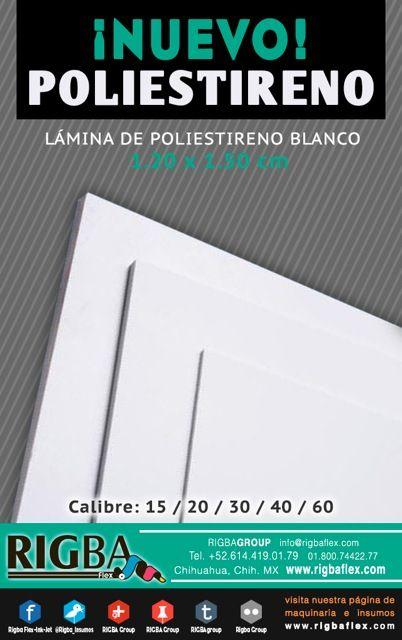 Laminas de poliestireno. Calibres: 15/20/30/40/60 La mejor calidad a los mejores precios. www.rigbaflex.com