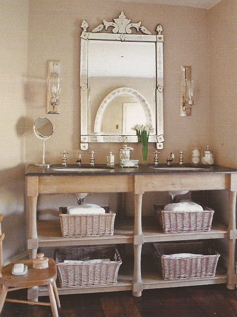 Bathroom vanity with open shelves baskets the for Bathroom cabinet with baskets