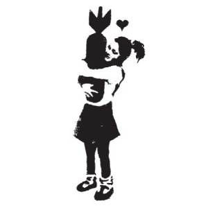 Banksy: Almost the perfect anti-war statement, in one monochrome stencil.