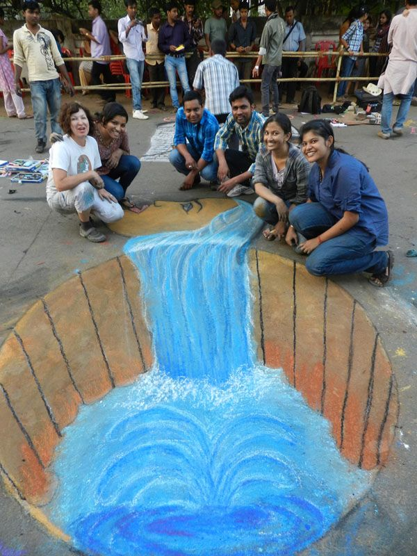 3D chalk, water - Love this.. will be hosting water-themed chalk art at Walk for Water: Ethiopia on May 19th.