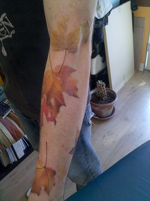 Shannon Archuleta has got to be one of my favorite tattoo artists. Fall Leaves In Progress via FlickrTattoo Ideas, Fall Leaves, Autumn Leaves, Tattoo Inspiration, Forearm Tattoo, Leaf Tattoos, New Tattoo, Earn Extra Money, Maple Leaves