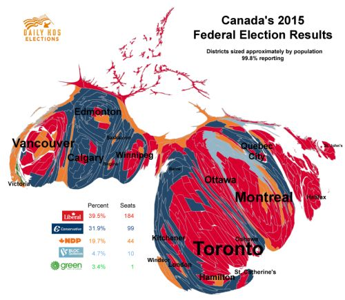 - Cartogram of Canadas federal election results from...