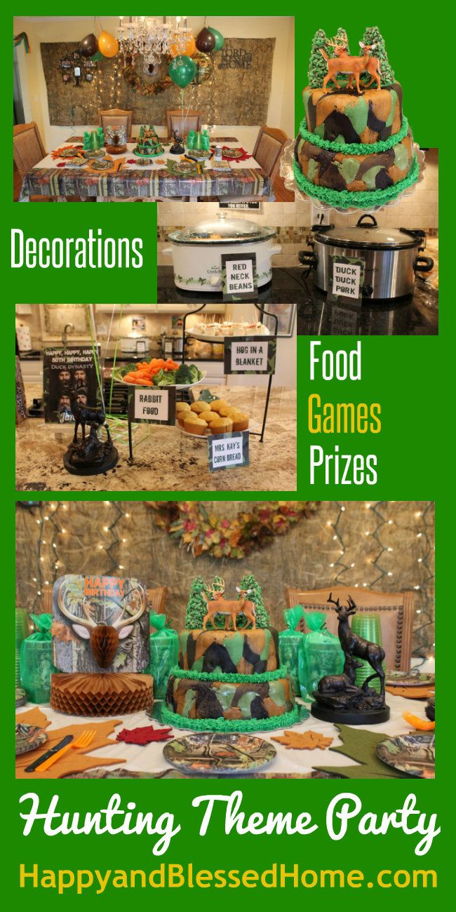 Hunting Theme Party with ideas for hunting theme parties, birthday parties- featuring deer hunting, camouflage, Duck Dynasty, food and party decorations from HappyandBlessedHome.com