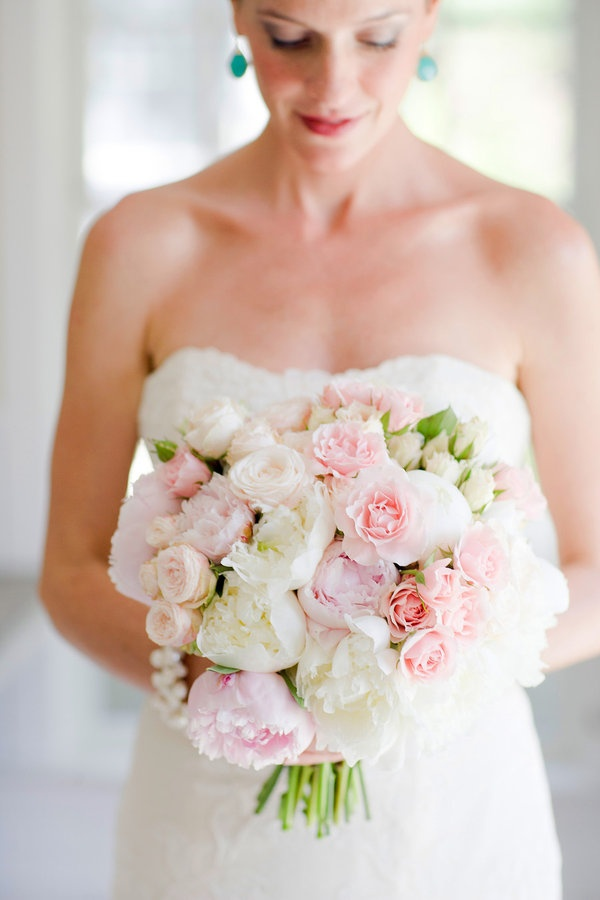 White & Pink Bouquet -- pretty but more for daytime wedding bouquet 2014