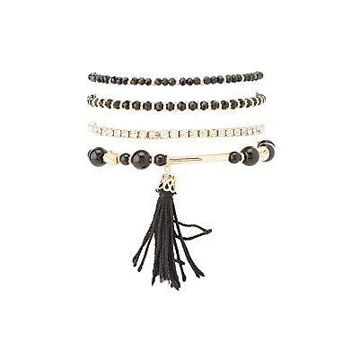 Plus Size Black Beaded Layering Bracelets - 5 Pack