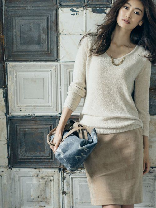 ivory sweater, tan skirt, pretty necklace