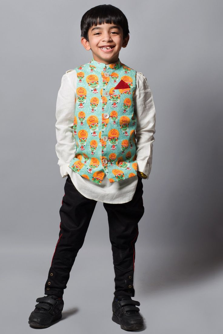 Stylemylo -- Most effortlessly suave and comfortable is to match it up with a simple long sleeve kurta and pair of his favorite denims. Another complementing way to pull this look is with classic shirt tucked out and denims. Push the fashion envelope by using these amusing printed Nehru jackets for kids.