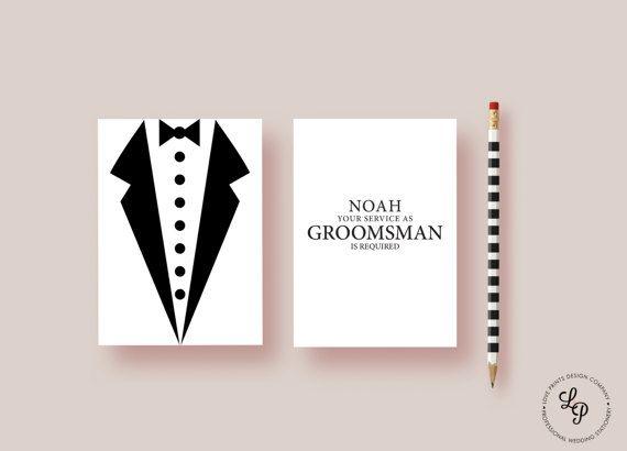 Will You Be My Groomsman, Junior Groomsman, Usher, Wedding Party Printable, Best Man, Groomsman Invite,  Groomsman Bow Tie