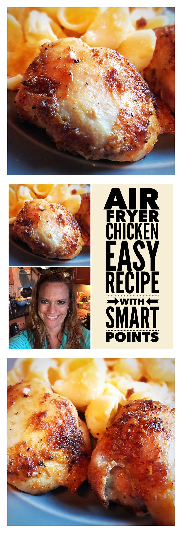 "Weight Watchers Air Fryer ""That Man's Chicken"" easy recipe with Smart Points Watch it here! https://youtu.be/wcqfs83Lxek Smart Points: 4 to 5 per chicken thigh Prep Time: 3 minutes Cook Time: 18 minutes Total Time: 21 minutes For the complete recipe and instructions visit my blog tomorrow! Did you enjoy this recipe idea? Remember to Like, Share, Comment and Subscribe so I can make more! Kelly a.k.a The Egg Lady"