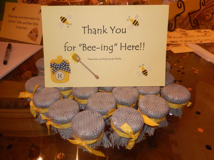 "What Will it Bee? Gender Reveal Party. Mini honey jar favors. ""Thank you for bee-ing here!"""