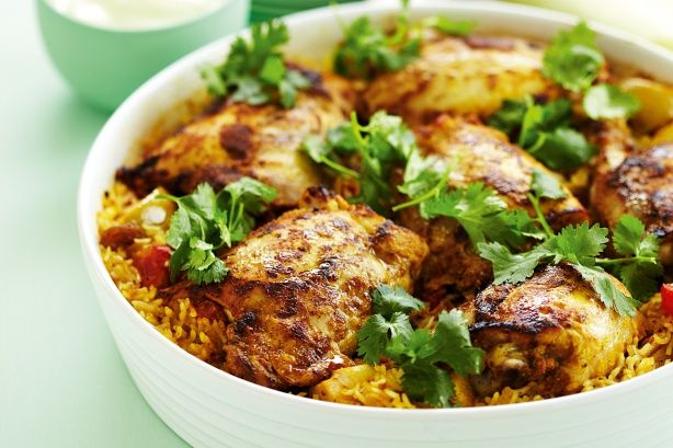 Indian curried chicken rice