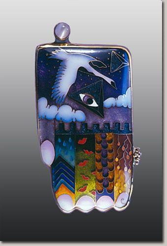 Colette Denton Handpiece Pendant 3 Cloisonne Enamel
