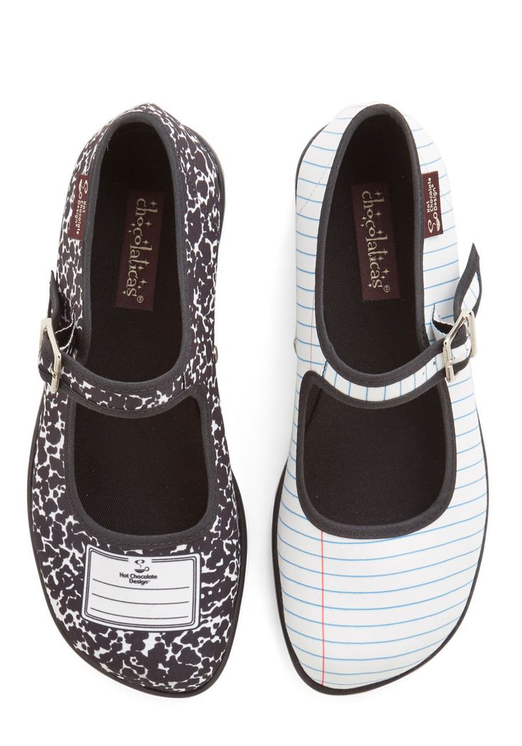 Shoes of Note Flat - Low, Novelty Print, Scholastic/Collegiate, Better, Black, White, Exclusives, Quirky, Mary Jane, Best Seller