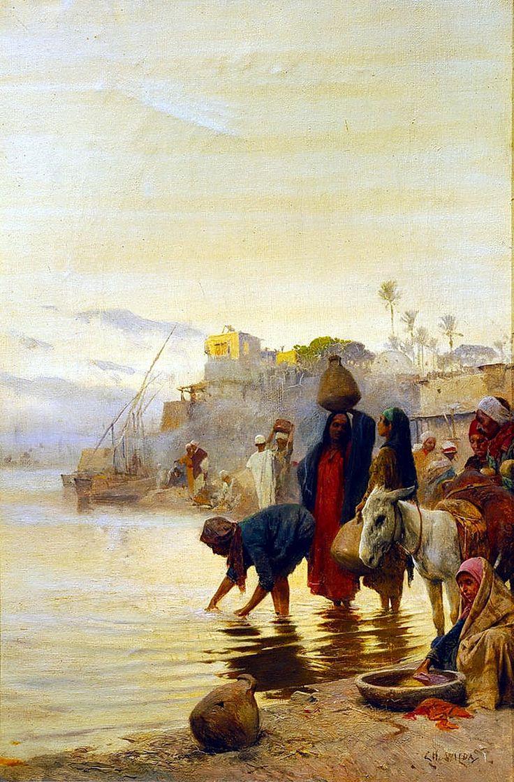 Wilda, Charles, (1854-1907), Washerwomen on the Nile, Oil