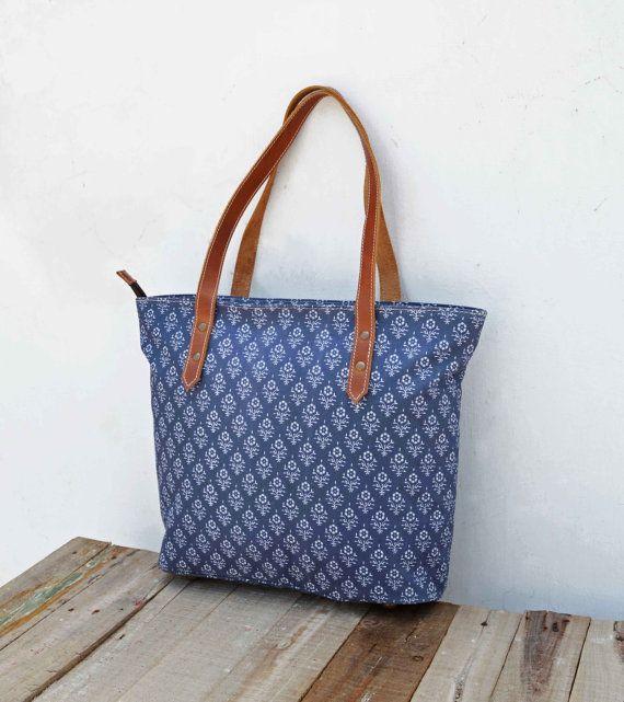 Tote bag laminated cotton block printed Indigo color by VLiving