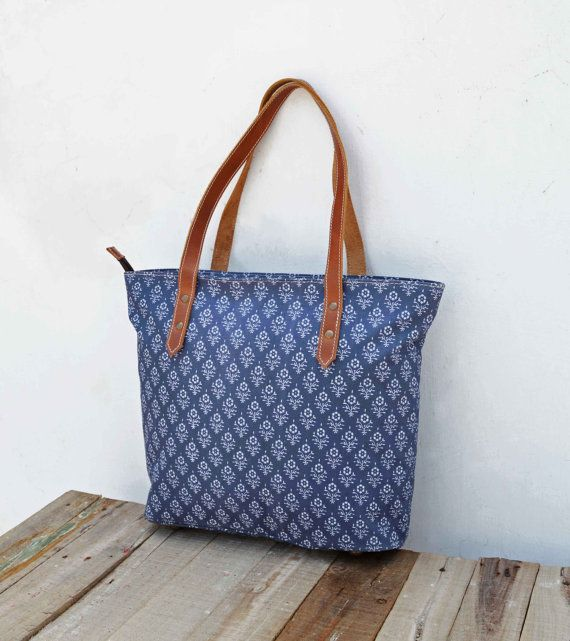 Tote bag laminated cotton block printed Indigo color by VLiving