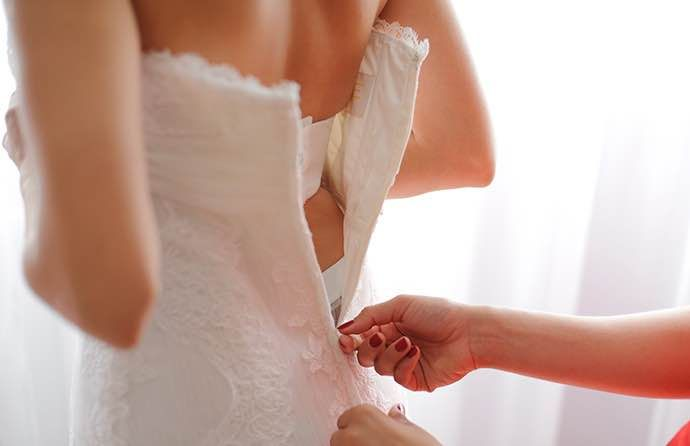 wedding dress trial after alteration