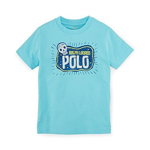 Ralph Lauren Childrenswear Boys 2T7 Short Sleeve Sugar Skull Graphic Tee 22T *** Click image to review more details.