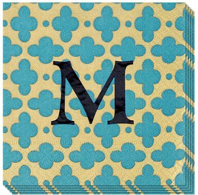 Monogrammed Turquoise Tile Caspari Napkins #themonogrammerchant
