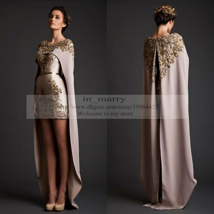 Designer Krikor Jabotian Evening Dresses with Cape Wrap 2016 Sheath Crew Gold Appliques High Low Arabic Dresses Evening Wear vestidos noche