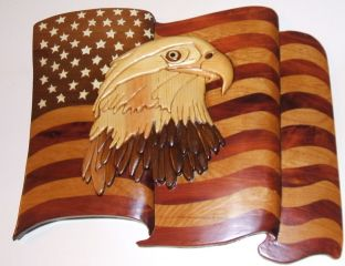 Intarsia woodworking art for gifts and home decor.