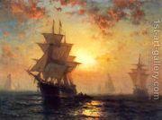 Ships at Night  by Edward Moran