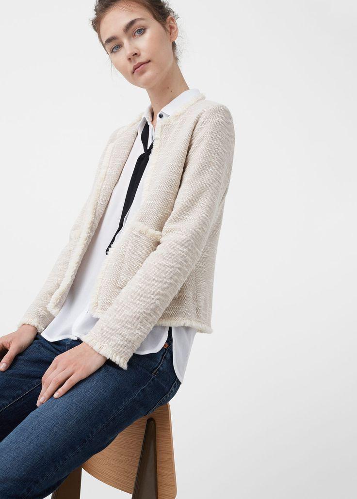 Jacquard cotton jacket - Jackets for Women | MANGO USA