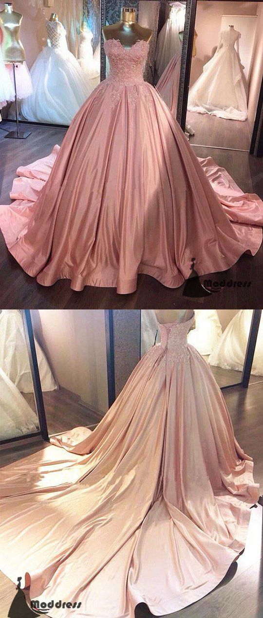 37a91ba1e19 Elegant Pink Long Prom Dresses Sweetheart Evening Dress Ball Gowns Formal  Dress with Trains