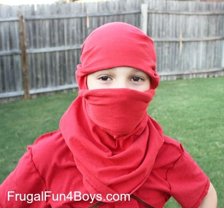 How to Turn a T-Shirt into a Ninja Mask {With no cutting or sewing!} - Frugal Fun For Boys