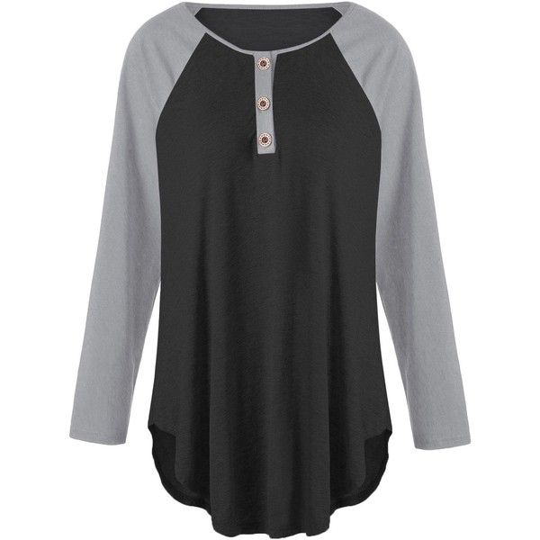 Black And Grey 5xl Plus Size Raglan Sleeve Two Tone T-shirt with... ($9.39) ❤ liked on Polyvore featuring tops, t-shirts, two tone t shirts, button top, plus size tees, plus size womens tees and raglan sleeve tee