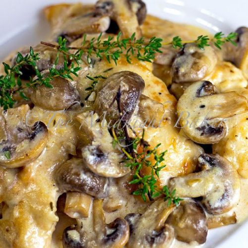 Mushroom Asiago Chicken (Romano or Parmesan can substitute for asiago cheese apparently)