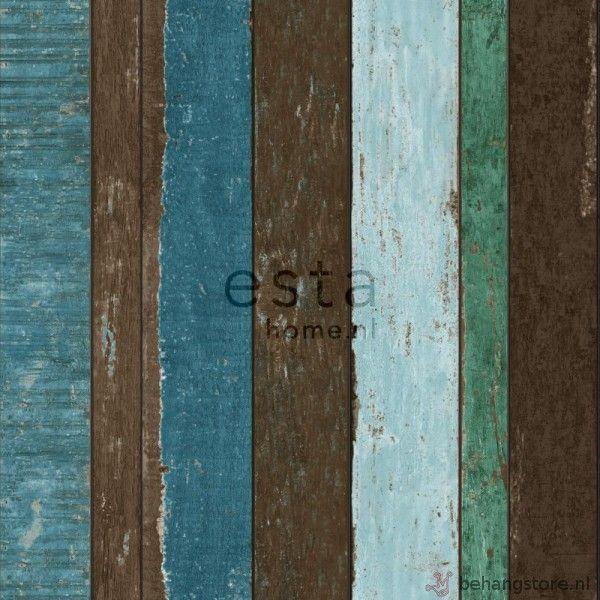 Esta Vintage Rules behang houten planken groen bruin turquoise - Vintage Rules behang+fotowanden - Esta home - Behang KIDS en Baby - Behangstore