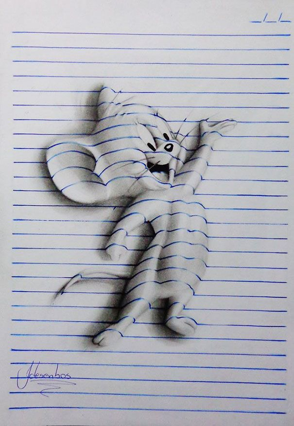 Brazilian artist João Carvalho, a.k.a. J Desenhos, draws notebook pages, which might seem boring until you see how he manages to twist and turn these notebook pages into amazing 3D drawings. And he's only 15 years old!