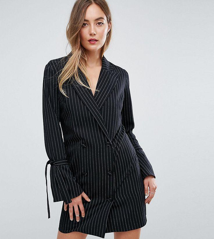 Missguided Tall Pinstripe Tie Sleeve Tux Dress - Black