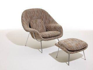 """Sillón Womb - Eero Saarinen. La referencia al útero, tal como el mismo Saarinen señaló, demuestra la popularización del sicoanálisis en la cultura de posguerra. La silla proporciona """"un mullido soporte para quien esté sobre ella"""", dijo Saarinen."""