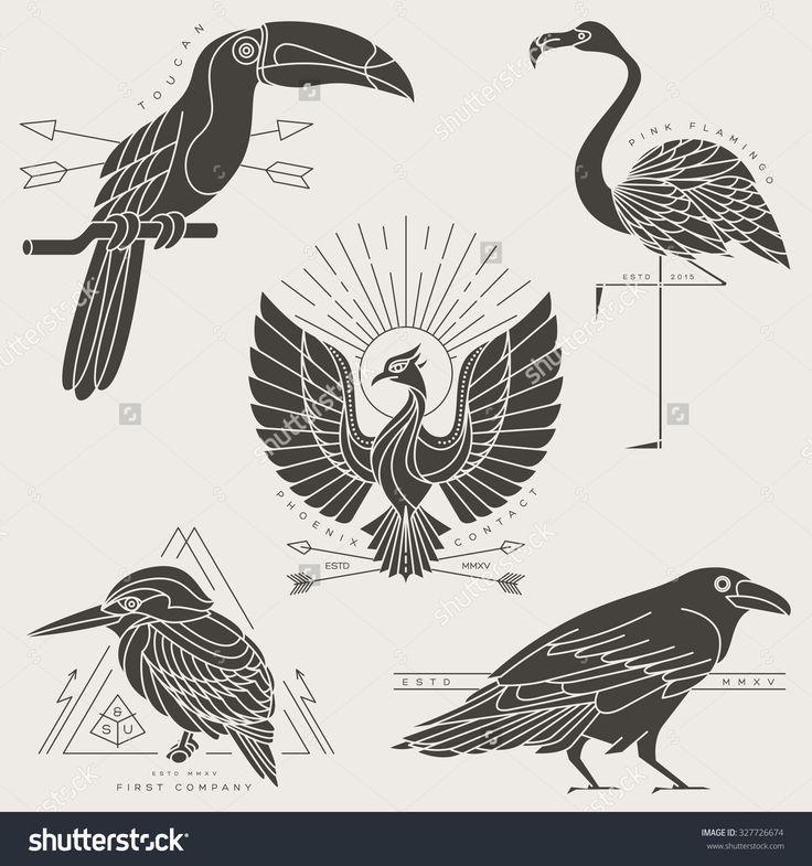 Set Of Vintage Thin Line Bird Labels & Badges. Retro Vector Design Graphic…