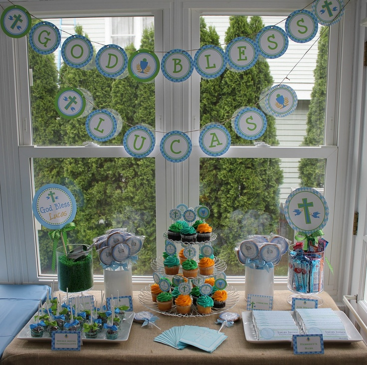 First holy communion baptism christening tablescape for 1st communion decoration ideas