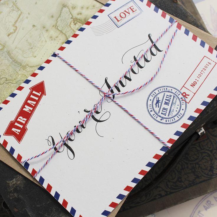 Airplane Wedding Invitation - Postcard Set