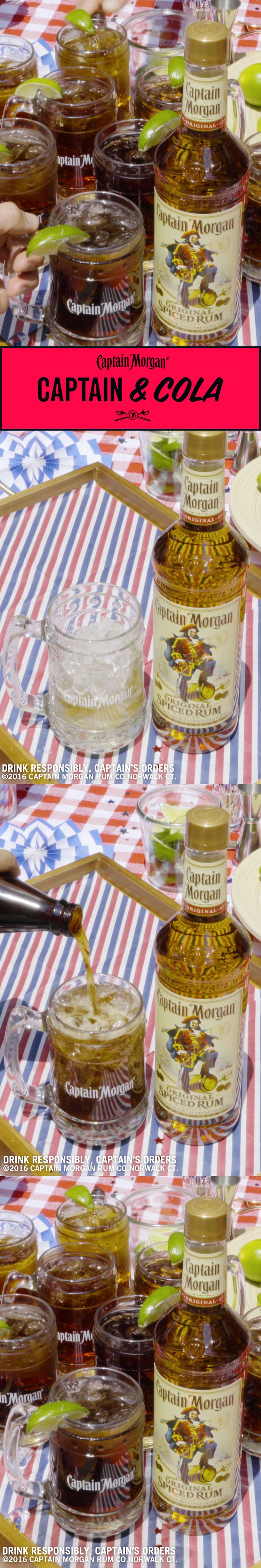 Captain & Cola. Great for small BBQ parties and BBQ parties you thought were going to be small. Recipe: 1.5 oz Captain Morgan Original Spiced Rum 5 oz Cola 1 lime wedge Get more rum recipes at https://us.captainmorgan.com/rum-cocktails/?utm_source=pinterest&utm_medium=social&utm_term=bbq&utm_content=captain_cola&utm_campaign=recipe