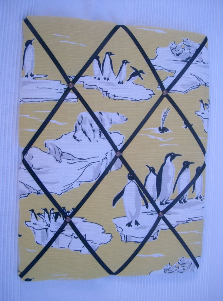 Vintage Fabric Memoboard with Penguin & Polar Bear Print, Yellow, White, New Home, Gift for Her, Notice board by HowManyBeansMakeFive on Etsy