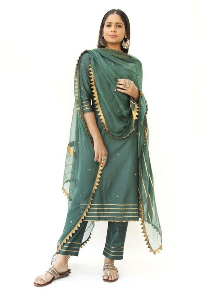 Traditional Wine Color Kurta with Lovely Pants and Net Dupatta  Detailed Handwork of Gota on Sleeves Pants and Dupatta  New Indian Dress