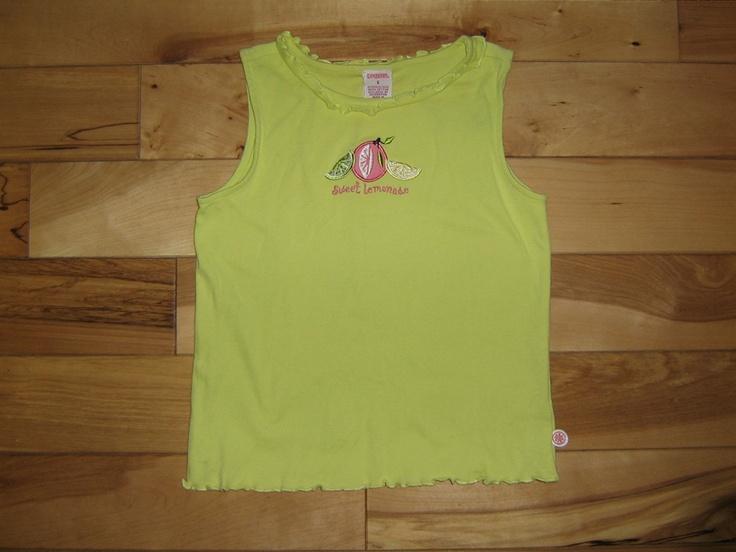 Gymboree Girls Lemony Fresh 'Sweet Lemonade' Sleeveless Tee Top Shirt 6 EUC (from the May '04 line)  $4.00